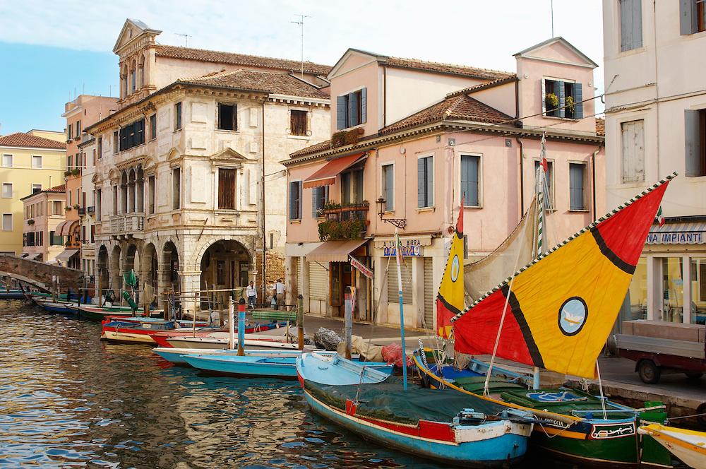 Traditional Sail Fishing Boats on Riva Vena canal - Chioggia - Venice - Italy