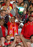 Fotball<br /> Semifinale UEFA Champions League<br /> Liverpool v Chelsea<br /> Foto: Fotosports/Digitalsport<br /> NORWAY ONLY<br /> <br /> Liverpool, England - Tuesday, May 1, 2007: A Liverpool fan holds up an inflatable European Cup with the number six on as she watches her side knock-out Chelsea during the UEFA Champions League Semi-Final 2nd Leg match at Anfield.
