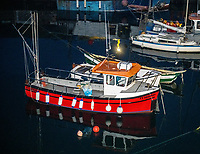 Mevagissey Harbour at night ,The second largest fishing port in Cornwall photo by brian jordan