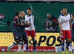 Football: Germany, DFB Cup<br /> Heiko Westermann, Tomas Rincon (Hamburger SV, HSV) - <br /> Mario Goetze, Arjen Robben (FC Bayern Muenchen)
