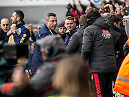 Millwall Manager Neil Harris thanks the Watford bench at fulltime during the FA Cup match at The Den, London<br /> Picture by Liam McAvoy/Focus Images Ltd 07413 543156<br /> 29/01/2017