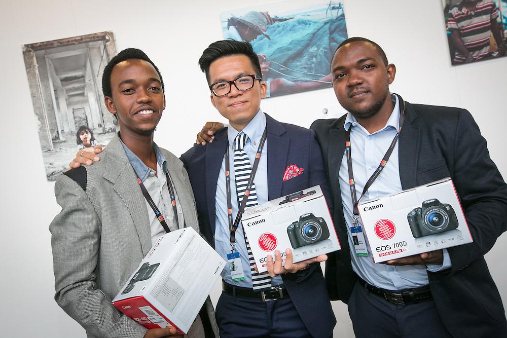 03 June 2015 - Belgium - Brussels - European Development Days - EDD - Photos Contest -  Jean Luc Habimana , Rwanda - Huy Dang , Vietnam - Daryll Peter Griffith , Trinidad & Tobago © European Union