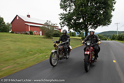 Denis Sharon on his Harley and Jeff Mcallister on his Indian riding in the Motorcycle Cannonball coast to coast vintage run. Stage-2 (251-miles) from Keene, NH to Binghampton, NY. Sunday September 9, 2018. Photography ©2018 Michael Lichter.