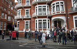 © Licensed to London News Pictures. 14/11/2016. London, UK.  Reporters and TV crews wait outside the  Ecuadorian Embassy as Swedish Chief Prosecutor Ingrid Isgren interviews WikiLeaks editor-in-chief, Julian Assange. Assange, who has been living at the embassy for over four years, is wanted for questioning over accusations of rape in Stockholm in 2010. Photo credit: Peter Macdiarmid/LNP