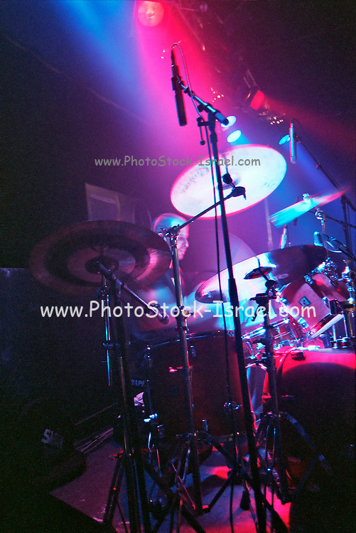 Israel, Tel Aviv, the drummer during a Heavy Metal rock performance