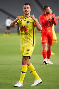 Wellington Phoenix captain Steven Taylor celebrates their 1-0 win over Melbourne City FC, during the Hyundai A-League football match, between Wellington Phoenix and Melbourne City FC, held at Eden Park, Auckland, New Zealand.  15  February  2020    Photo: Brett Phibbs / www.photosport.nz