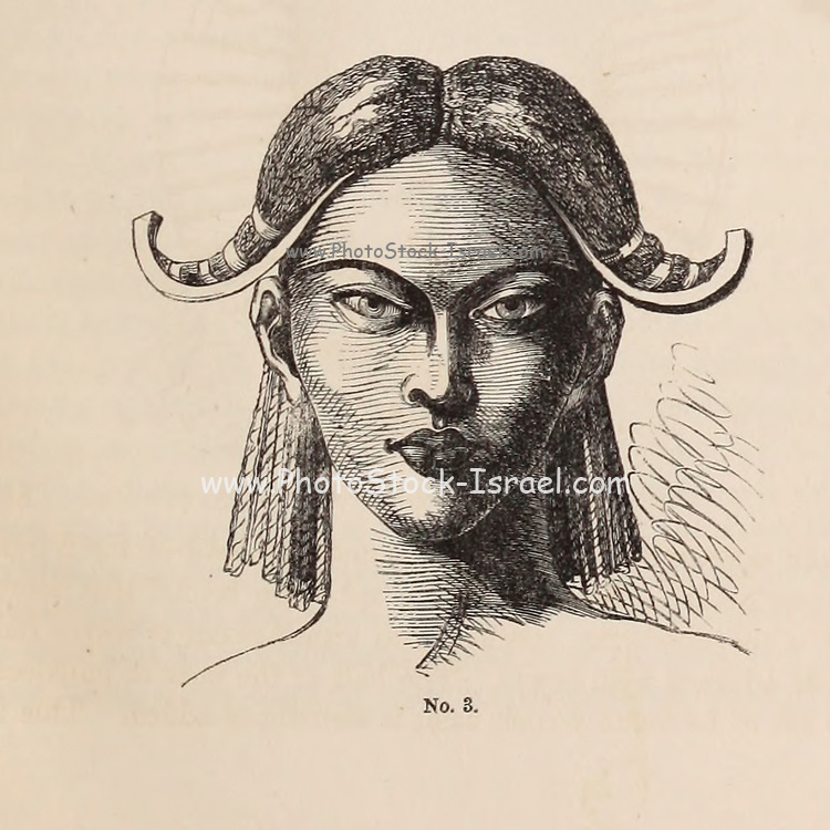 Londa [Luanda Angola] Ladies' modes of wearing the Hair From the Book ' Missionary travels and researches in South Africa ' including Sixteen Years Residence in the Interior of Africa. by Dr. David Livingstone Published in New York by Harper & Brothers 1858