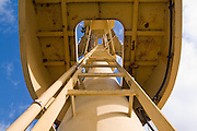 Looking up the ladder of the control tower on the NOAA research vessel Rainier anchored at the NOAA Sand Point facility in Seattle, Washington.