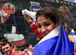 Girl from Russia before an ice-hockey game Canada vs Russia at finals of IIHF WC 2008 in Quebec City,  on May 18, 2008, in Colisee Pepsi, Quebec City, Quebec, Canada.  (Photo by Vid Ponikvar / Sportal Images)
