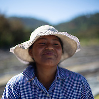 Merlin Xiomara Sánchez, 23, works on the patios at COMSA during seasonal work drying special coffees
