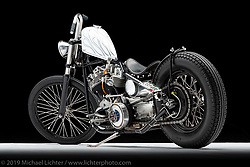 Betty, a custom motorcycle built from a 1976 Shovelhead, by Paul Morris. Photographed by Michael Lichter in Charlotte, SC, USA on 1/25/19. ©2019 Michael Lichter.