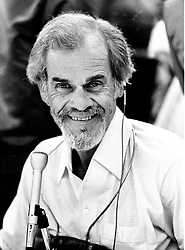 Announcer: The great Bill King....play by play announcer for Oakland Raiders, Oakland Athletics, and Goldern State Warriors (1987 photo by Ron Riesterer)