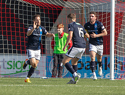 Raith Rovers Liam Buchanan (9) scoring their first goal. Airdrie 3 v 4 Raith Rovers, Scottish Football League Division One played 25/8/2018 at the Excelsior Stadium.