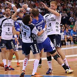Hamburg, 24.05.2015, Sport, Handball, DKB Handball Bundesliga, HSV Handball - SG Flensburg-Handewitt : Bogdan Radivojevic (SG Flensburg-Handewitt, #41), Henrik Toft Hansen (HSV Handball, #15), Jim Gottfridsson (SG Flensburg-Handewitt, #24)<br /> <br /> Foto © P-I-X.org *** Foto ist honorarpflichtig! *** Auf Anfrage in hoeherer Qualitaet/Aufloesung. Belegexemplar erbeten. Veroeffentlichung ausschliesslich fuer journalistisch-publizistische Zwecke. For editorial use only.
