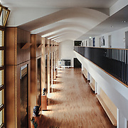 Stuttgart, Germany Baden-Württemberg 2001: Interior view of the third floor, of the Music School of History in Stuttgart completed in 1992 by James Stirling and Michael Wilford architects. Photographs by Alejandro Sala   Visit Shop Images to purchase and download a digital file and explore other Alejandro-Sala images…