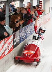 03.12.2011, Eiskanal, Igls, AUT, Viessmann FIBT Bob und Skeleton Weltcup, 2er Bob Herren, 2. Durchgang, im Bild Beat Hefti, Thomas Lamparter (SUI 1, Rang 1) // Beat Hefti, Thomas Lamparter (SUI 1) placed first after second run tow men Bob at FIBT Viessmann Bobsleigh and Skeleton World Cup at Olympic ice canal, Innsbruck Igls, Austria on 2011/12/03. EXPA Pictures © 2011, PhotoCredit: EXPA/ Johann Groder