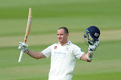 Michael Klinger of Gloucestershire celebrates scoring a century - Photo mandatory by-line: Dougie Allward/JMP - Mobile: 07966 386802 - 08/06/2015 - SPORT - Football - Bristol - County Ground - Gloucestershire Cricket v Lancashire Cricket Day 2 - LV= County Championship
