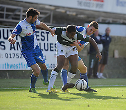 Bristol Rovers' Tom Lockyer jostles for the ball with Plymouth Argyle's   - Photo mandatory by-line: Dougie Allward/JMP - Tel: Mobile: 07966 386802 07/09/2013 - SPORT - FOOTBALL -  Home Park - Plymouth - Plymouth Argyle V Bristol Rovers - Sky Bet League Two
