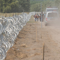 Illegal migrants under police custody walk next to a NATO barbed wire fence built to stop illegal migrants entering on the green border between Serbia and Hungary near Asotthalom (about 190 km South of capital city Budapest), Hungary on August 13, 2015. ATTILA VOLGYI