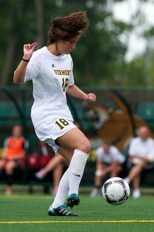 Vermont midfielder Lily Feldman (18) in action during the women's soccer game between the Brown Bears and the Vermont Catamounts at Virtue Field on Saturday afternoon September 8, 2012 in Burlington, Vermont.