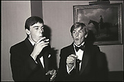 William Nott and Edward Hoare at the Grattan-Bellew/Sebag-Montefiore/Courtauld dance. Boodles. London. 1981. Film 81173f1<br /> © Copyright Photograph by Dafydd Jones<br /> 66 Stockwell Park Rd. London SW9 0DA<br /> Tel 0171 733 0108