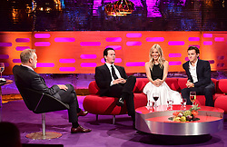 (left to right) Host Graham Norton, Mark Wahlberg, Sienna Miller and Tom Holland during filming of the Graham Norton Show at the London Studios, to be aired on BBC One on Friday evening.
