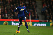 Paul Pogba of Manchester Utd in action. Premier league match, Stoke City v Manchester Utd at the Bet365 Stadium in Stoke on Trent, Staffs on Saturday 21st January 2017.<br /> pic by Andrew Orchard, Andrew Orchard sports photography.