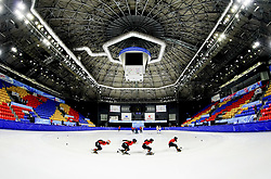 BEIJING, March 1, 2019  Team members from China take part in a short-track-speed skating training for the upcoming 2019 Winter Universiade in Krasnoyarsk, Russia, Feb. 28, 2019. (Credit Image: © Xinhua via ZUMA Wire)