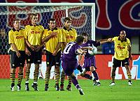 Fotball<br /> UEFA Champions League 2003/2004<br /> 24.09.2003<br /> Østerrike<br /> Foto: Digitalsport<br /> NORWAY ONLY<br /> <br /> UEFA - Cup, Austria Memphis Magna Wien vs Borussia Dortmund<br /> Stefan Reuter , Andre Bergdølmo , Niclas Jensen , Sebastian Kehl (Dortmund) , Vladimir Janocko , Radoslav Gilewicz (Austria) , Dede (Dortmund)