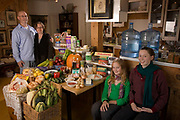 Gatineau, Canada. Family portrait of the Finken family with one week's worth of food in October. The Hungry Planet project.