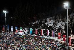 30.12.2017, Schattenbergschanze, Oberstdorf, GER, FIS Weltcup Ski Sprung, Vierschanzentournee, Garmisch Partenkirchen, Wertungsdurchgang, im Bild Zuschauer auf den Tribünen mit Flutlicht // Spectators in the Stands with the floodlights during his Competition Jump for the Four Hills Tournament of FIS Ski Jumping World Cup at the Schattenbergschanze in Oberstdorf, Germany on 2017/12/30. EXPA Pictures © 2017, PhotoCredit: EXPA/ JFK