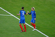 Antoine GRIEZMANN (FRA) scored a goal against Jasper CILLESSEN and celebrated it with Olivier GIROUD (FRA) during the FIFA World Cup Russia 2018, Qualifying Group A football match between France and Netherlands on August 31, 2017 at Stade de France in Saint-Denis, France - Photo Stephane Allaman / ProSportsImages / DPPI