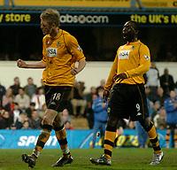 Fotball<br /> Photo: Glyn Thomas, Digitalsport<br /> NORWAY ONLY<br /> <br /> Fulham v Blackburn. FA Barclaycard Premiership. <br /> Loftus Road, Luton. 12/04/2004.<br /> Blackburn's John Stead (L) celebrates scoring his side's fourth goal with Andy Cole.