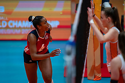 Kamerynn Miner of USA in action during United States - Netherlands, FIVB U20 Women's World Championship on July 15, 2021 in Rotterdam