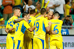 August 3, 2017 - Ljubljana, Slovenia, Slovenia - Players  NK Domzale celebrate the victory the UEFA Europa League Third Qualifying Round match between SC Freibur and NK Domzale at Arena Stozice on 3 rd August , 2017 in Ljubljana, Slovenia. (Credit Image: © Damjan Zibert/NurPhoto via ZUMA Press)