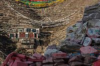Gyanak Mani temple and prayer flags in mountain, yushu city, Yushu prefecture, Qinghai Province, China
