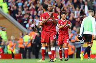 Daniel Sturridge of Liverpool looking dejected at the end of the game. Premier League match, Liverpool v Burnley at the Anfield stadium in Liverpool, Merseyside on Saturday 16th September 2017.<br /> pic by Chris Stading, Andrew Orchard sports photography.