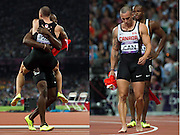Canada's Oluseyi Smith, back, and Jared Connaughton react first to being placed third and then to being disqualified in the 4x100-metre relay at the 2012 Summer Olympics in London on Saturday, August 11, 2012. THE CANADIAN PRESS/Sean Kilpatrick