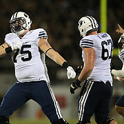 ORLANDO, FL - OCTOBER 09:  Brad Wilcox #75 of the Brigham Young Cougars celebrates at Bright House Networks Stadium on October 9, 2014 in Orlando, Florida. (Photo by Alex Menendez/Getty Images) *** Local Caption *** Brad Wilcox