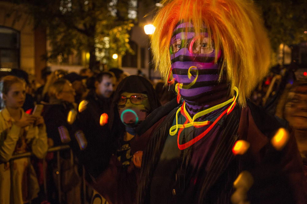 New York, NY, October 31, 2013. A costumed parade goer in the Greenwich Village Halloween Parade.