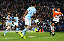 Kevin De Bruyne of Manchester City scores his sides first goal  - Mandatory by-line: Matt McNulty/JMP - 26/09/2017 - FOOTBALL - Etihad Stadium - Manchester, England - Manchester City v Shakhtar Donetsk - UEFA Champions League Group stage - Group F