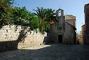 The Gothic Church of Saint Peter (Sveti Petar) and courtyard. Korcula old town, island of Korcula, Croatia.