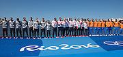 "Rio de Janeiro. BRAZIL.   GBR M8+ Gold Medalist, Scott DURANT, Tom RANSLEY, Andrew TRIGGS HODGE, Matt GOTREL, Pete REED, Paul. BENNETT, Matt LANGRIDGE, William  SATCH,  and Cox. Phelan HILL. awards dock. 2016 Olympic Rowing Regatta. Lagoa Stadium,<br /> Copacabana,  ""Olympic Summer Games""<br /> Rodrigo de Freitas Lagoon, Lagoa.   Saturday  13/08/2016 <br /> <br /> [Mandatory Credit; Peter SPURRIER/Intersport Images]"