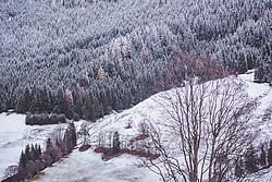 THEMENBILD - verschneite Berghänge und Nadelwälder, aufgenommen am 12. November 2019, Saalbach Hinterglemm, Österreich // snow-covered mountain slopes and coniferous forests on 2019/11/12, Saalbach Hinterglemm, Austria. EXPA Pictures © 2019, PhotoCredit: EXPA/ Stefanie Oberhauser