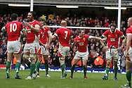 Match winner Shane Williams  (2nd right) dances as Welsh players celebrate their win. RBS Six nations, Wales v Scotland at the Millennium stadium, Cardiff on Sat 13th Feb 2010. pic by  Andrew Orchard sports photography,