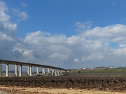 Newly constructed overpass for the train from Tel Aviv to Jerusalem Photographed in Ha'Ela valley Israel
