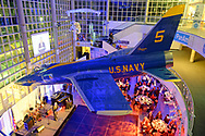 jet; plane; F-11; F11; U.S. Navy; suspended; atrium; ceiling; real; genuine; authentic; America; Cradle of Aviation Museum; Gala; Long Island; NY; New York; U.S.; USA; United States; annual; museum; space; overhead; view; guests; above; below