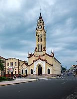IQUITOS, PERU - CIRCA OCTOBER 2015:  Church of St. John the Baptist in Iquitos, a city in the Peruvian Amazon.