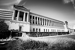 Chicago Solider Field black and white picture. Soldiers Field is home stadium to the Chicago Bears NFL team and is one of the most popular Chicago attractions.