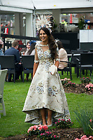 Grand National Meeting - Ladies' Day<br /> e.g. of caption:<br /> National Hunt Horse Racing - 2017 Randox Grand National Festival - Friday, Day Two [Ladies' Day]<br /> <br /> Female race goers queue to have their picture taken prior to the races <br /> <br /> COLORSPORT/WINSTON BYNORTH